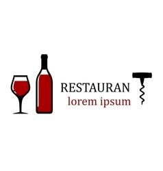 wine bottle for restaurant signboard vector image