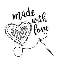 With sewing heart and lettering vector