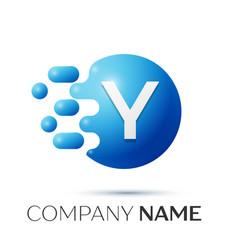 y letter splash logo blue dots and circle bubble vector image