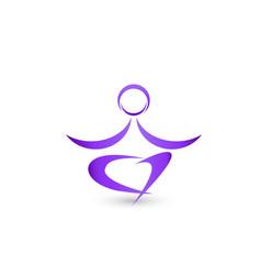 yoga man meditation lotus icon logo vector image
