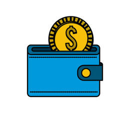 blue wallet with gold coin inside vector image