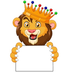 Cartoon king lion holding blank sign vector image vector image