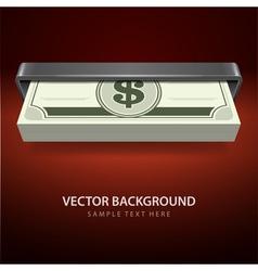 Dollars money from cash machine vector image