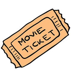 freehand cartoon movie ticket vector image vector image