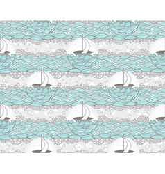 Seamless boat and sea patte vector image