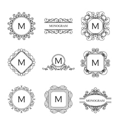 Set of outline monograms and logo design templates vector image vector image