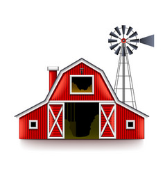 traditional american red farm house isolated vector image