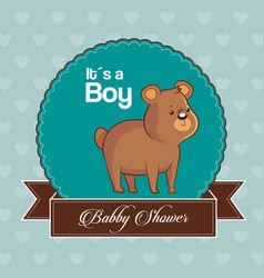baby shower card invitation its a boy with cute vector image vector image