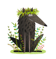 black friendly cute wolf smiling in grass vector image