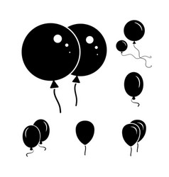 Black party balloon icons isolated on white vector