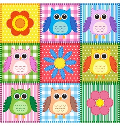 Patchwork background with owls vector image