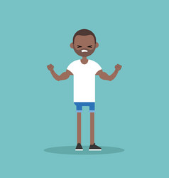 young black guy demonstrating his strength vector image vector image