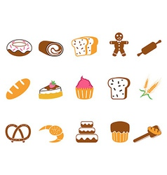 color bakery icons set vector image