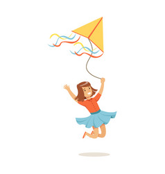 happy girl running with her flying kite kids vector image vector image