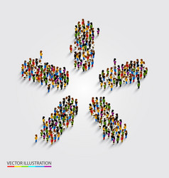 large group of people in modern star shape vector image vector image