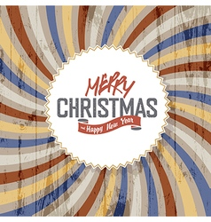 merry christmas colorful rays wooden background vector image vector image