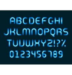 Neon light alphabet letters font vector image