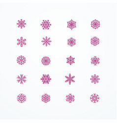 Red snowflakes icon on white background vector
