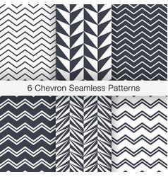 set 6 chevron seamless patterns monochrome color vector image vector image