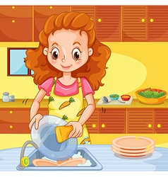 Woman cleaning dishes in the kitchen vector image vector image