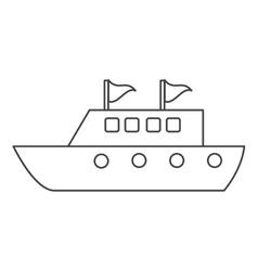 Yacht luxury travel destination thin line vector