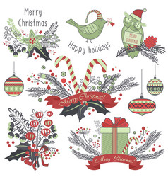 christmas decoration set of gifts animals toys vector image vector image