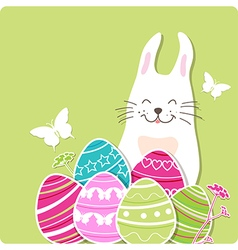 Decorative Easter card with rabbit and eggs vector image vector image
