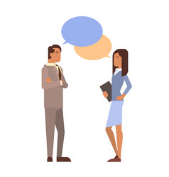 Indian business man woman with chat bubble vector