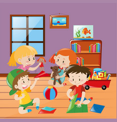 Many kids folding paper craft in the room vector