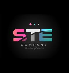 ste s t e three letter logo icon design vector image