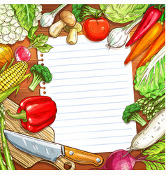 vegetables and blank paper on wooden background vector image