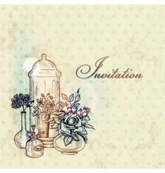 Vintage Spring Card with Flowers vector image vector image