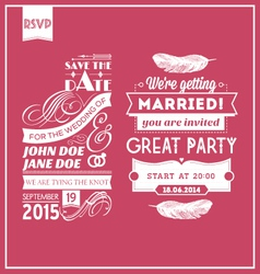 Wedding stamps pink vector image vector image