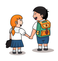 2 students in uniform hold them hands vector