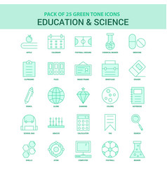 25 green education and science icon set vector image