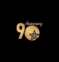 90 years anniversary celebration star gold logo vector