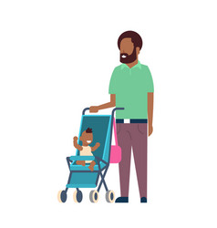 african father beard with baby son in stroller vector image
