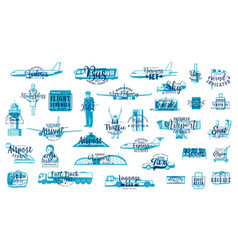 airport sketches air transportation and travel vector image