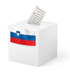 Ballot box with voting paper Slovenia vector image