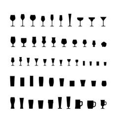 Bar glassware black silhouette icons set vector