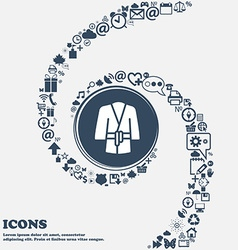 Bathrobe icon in the center Around the many vector