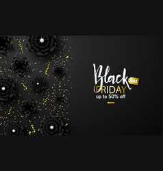 black friday sale background with beautiful black vector image