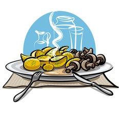 Boiled potatoes and mushrooms vector