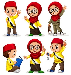 Brunei children in costumes vector