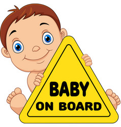 Cartoon baholding on board yellow safety sign vector