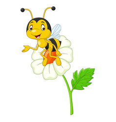cartoon happy bee with a flower vector image