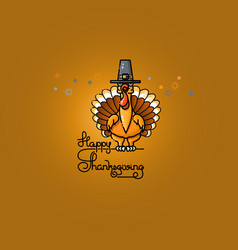 cartoon turkey in pilgrim hat thanksgiving vector image