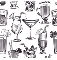 Cocktail seamless pattern hand drawn cocktails vector
