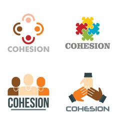 Cohesion logo set flat style vector
