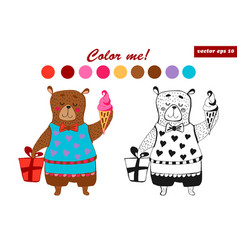 Coloring book bear vector